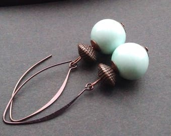 Chocolate and ivory glass earrings
