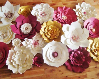 Set of 19 Paper Flowers -  Paper Flowers for Weddings | Paper Flower Wall | Wedding Photo Backdrop | Flower Photo Wall | Ceremony Decor