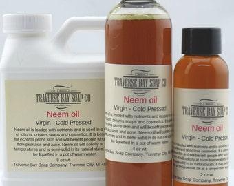 Neem oil  , Virgin - Cold Pressed  2 oz -4 oz- 8 oz Soap making, lotion, creams, bath, beauty, lip balm