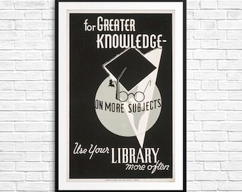 literary poster gift, library themed gifts, dorm decor men, funny dorm room wall art, library gift ideas, library art print, librarian gifts