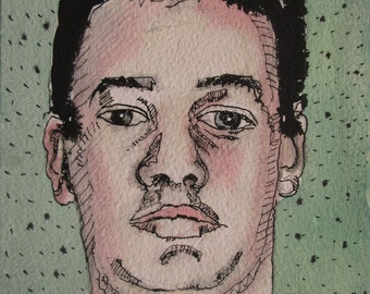 Student, Watercolor and Ink Portrait Painting, Stooshinoff