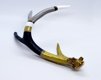 """Medium """"Regatta"""" navy, dove grey white and gold naturally-shed white-tailed deer antler."""