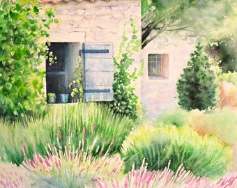 """A corner of Provence"" watercolor original copy made in Provence, France"