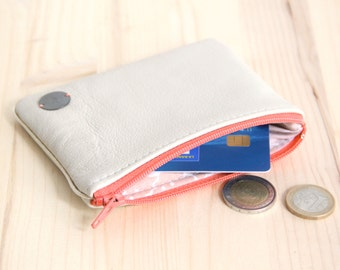 SALES Ecru Women Cardholder // Coral orange Zipper // Genuine Recycled Leather // Vintage Flowers // ID card Driving Licence // PC22