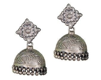 Sterling Silver Tribal Indian Jhumki (Dome) Earrings