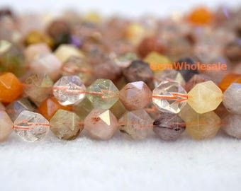 "15.5"" 8mm Natural multi color rutilated quartz round faceted beads,mix color DIY gemstone beads, semi precious stone, star faceted beads"
