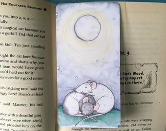 Moonlight Rats Handmade Bookmark, Cuddling Fancy Rats, laminated bookmark with blue ribbon detail, rat gift