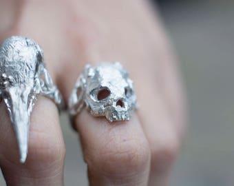 Skull Ring - Handmade skull ring with swirly ring shank and leaves