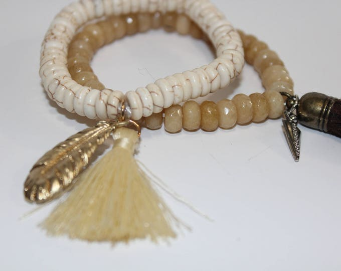Stretch Bracelets with Tassels