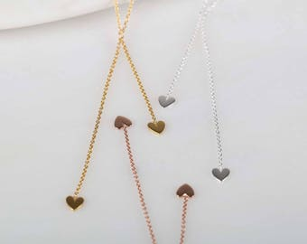 Double Drop Falling Hearts Necklace in Silver, Rose Gold or Gold