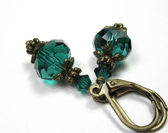 Teal Green Vintage Style Earrings, Czech Glass and Swarovski Crystal Dangle Earrings, Antiqued Brass Earrings, Under 25, Gift Ideas, Jewelry