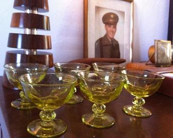 Set of six vintage stemmed glass bowls