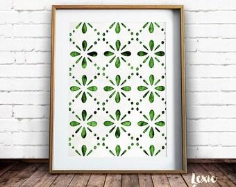 Modern Wall Art, Flower Pattern, Green Print, Green Floral Pattern, Geometric Art, Scandinavian, Printable Pattern, Printable Wall Art