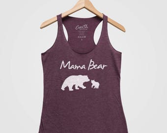 MAMA BEAR Women Tank Top Triblend Racerback Tank Top Hand Screen Print