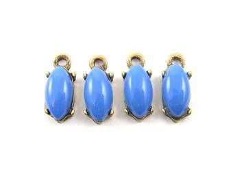 Periwinkle Earring Findings Small Blue Marquis Earring Dangles Antique Brass Earring Drop, Small Blue Pendant Dangle Charm |B8-6|4