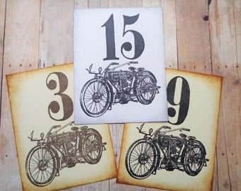 Vintage Motorcycle Wedding Table Number Cards Birthday Party