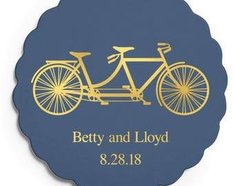 Set of 100 Scalloped Wedding Coasters - Tandem Bike - Custom Coasters - Weddings - Wedding - Wedding Reception - Wedding Coasters