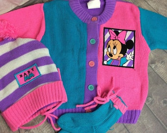 Vintage Baby Minnie Mouse Winter Set Cardigan Hat Socks Pink Purple 0- 6 Mos #AG