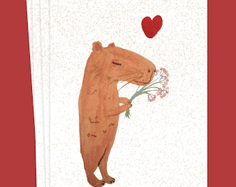 capybara love card for birthday / love or birth of newborn baby - on eco / sustainable paper