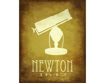 Science Art Isaac Newton 11x14, Astronomy Art Print Poster, Steampunk Art, Rock Star Scientist, Geek Art, Office Decor