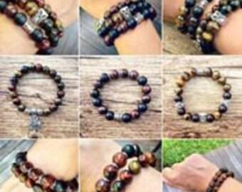 Bracelet Semi precious black Onyx, lava and Tiger eye stones