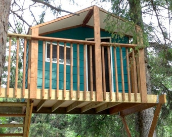 Zelkova treehouse - DIY plans to fit two trees