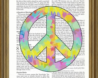 Peace Sign (tie-dyed) on Bible Page
