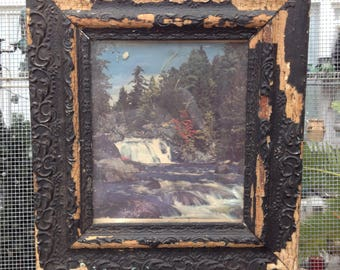 Shabby Black Frame with Vintage Picture