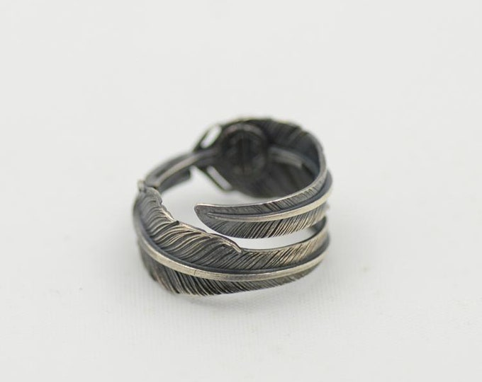 Feather Ring | Double Feather Wrap Ring | Silver Feather Jewelry | Sterling Silver Ring | Native American Inspired | Couple Ring | Boho Ring