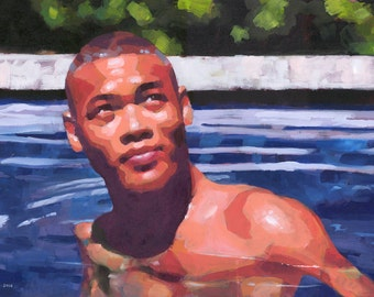 Fourth of July ,Large 22x37 Original Acrylic Painting of Black-Asian Male Swimmer