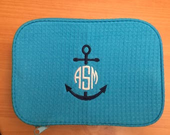 Preppy Anchor Monogrammed Cosmetic Bag - Nautical Double Compartment Makeup Bag - Monogrammed Make Up Bag - Bridesmaids - Vacation