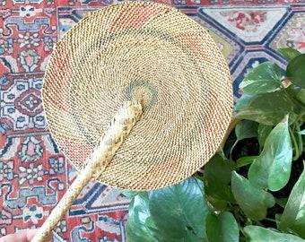 Jahrgang Pastell gewebt Fan • gewebt Korb Wand Dekor • Böhmische Dekor