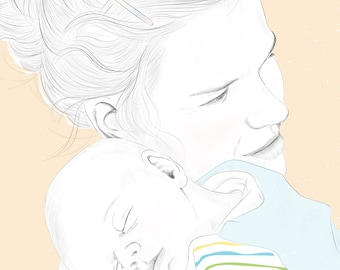 personalized portrait of mother & child download