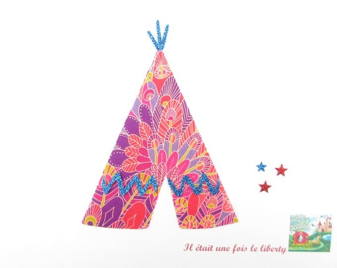 Applied fusible Tipi tent Eben liberty Indian Red and glitter flex fusible Indian motif applique patch seamless Indian