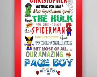 COMIC  Superhero Page Boy -  Best Man - Ringbearer -  Usher Gift - Personalised - Page Boy Thank you Gift - Print only - FULLY CUSTOMISABLE