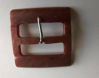 Rectangular vintage plastic belt buckle pink