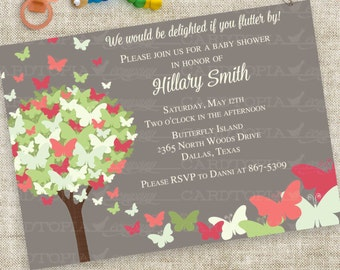 Butterfly Baby Shower Invitation in soft Pink Green Gray Digital Printable File with Professional Printing Option
