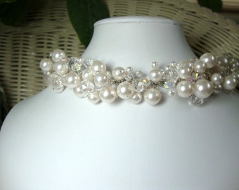 Pearl and Crystal Princess Necklace Formal Occasion Bridal Jewelry