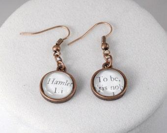 Hamlet Earrings // Shakespeare Jewelry // Book Page Earrings
