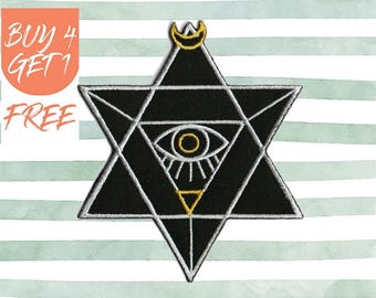 All Seeing Eye Patch Eye Patches Iron On Patch Embroidered Patch Illuminati Pyramid Eye