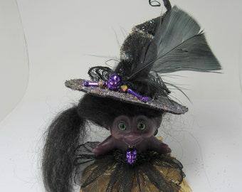 Vintage Dam  Troll Doll Purple Sparkly Witch OOAK