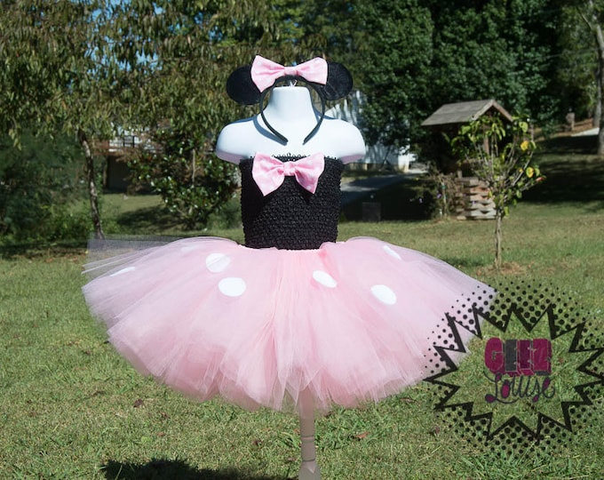 Mouse Halloween inspired Costume Tutu Girl Skirt Boutique Bows Clothing Baby Toddler pink Mouse Outfit