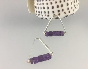 Amethyst earrings /Triangle Amethyst earrings /Amethyst drop/sterling silver earrings /Amethyst/triangle/ beaded earrings/healing/spiritual/