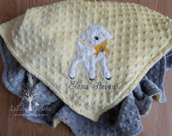 Lamb Personalized Minky Baby Blanket, Lamb Appliqued Minky Blanket,  Personalized Baby Blanket, Personalized Baby Girl Blanket, Baby Gift