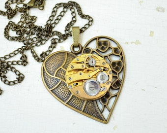 Steampunk Heart pendant, Industrial neclace, Clockwork neclace, Vintage Old gold pendant, Steampunk gift, Clockwork Love Gift for her