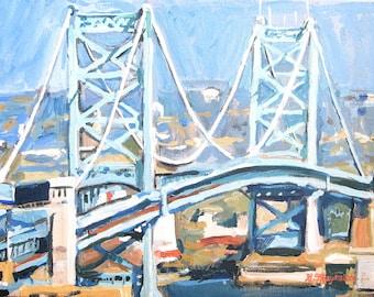 Philadelphia Painting. Philadelphia Print. Philly Art. Benjamin Franklin Bridge  Ben Franklin Print 8x10 11x14 12x16  painting Gwen Meyerson