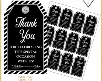 Thank You Tags:Black and Silver Thank You Tags, 40th birthday tag, Printable Party Favor Tags, Wedding FavorTags, #31818