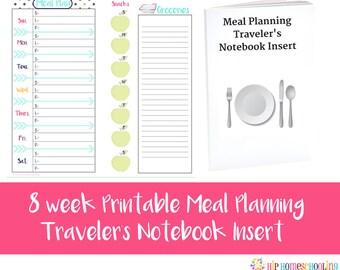 8 Week Meal Planner - Printable Planner - Travelers Notebook Insert - Meal Planning - Shopping List - Weekly Meal Planner - Instant Download
