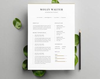 """Modèle de CV """"MOLLY"""" moderne & Lettre de motivation   4 Pages   Pour Ms Word   Guide d'utilisation Français + Anglais   Professionnel  """