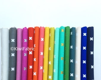 """New XOXO Half Yard Bundle [16 colors] - Cotton and Steel (with 2 Remnants 17""""x44"""")"""